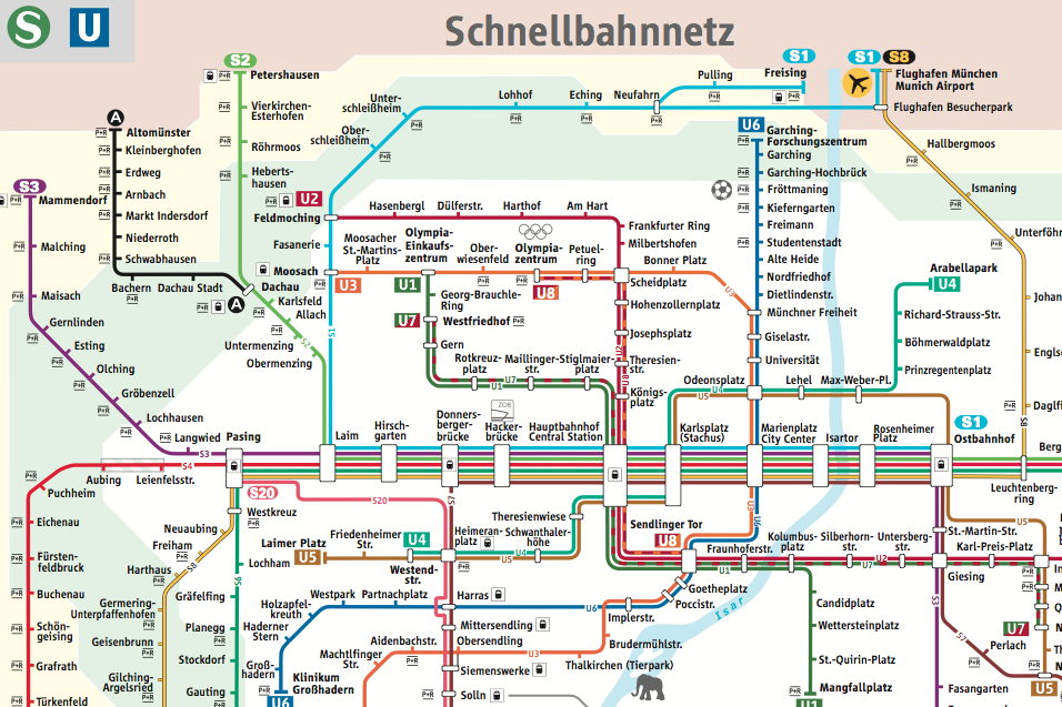 Munich Subway Map.Munich Metro Public Transit